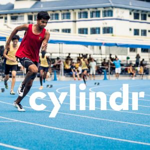 cylindr logo with an athlete off to a running start
